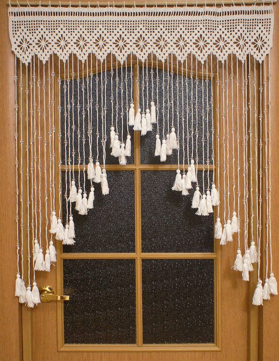 Crocheted Door Curtain With Acrylic Beads Doorway By Uytniidomik