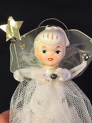 Vtg Porcelain Head Angel Christmas Tree Topper-Mercury Beads Netted Tulle Dress