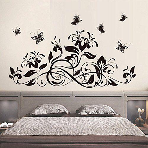 3 99 Black Flowers Vines Butterflies Wall Decal Home Sticker