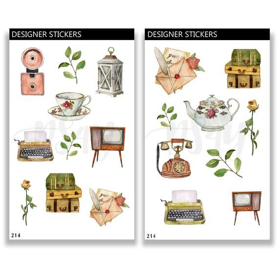Vintage Theme Bullet Journal Stickers Stationary Stickers Etsy In 2020 Journal Stickers Bullet Journal Stickers Aesthetic Stickers