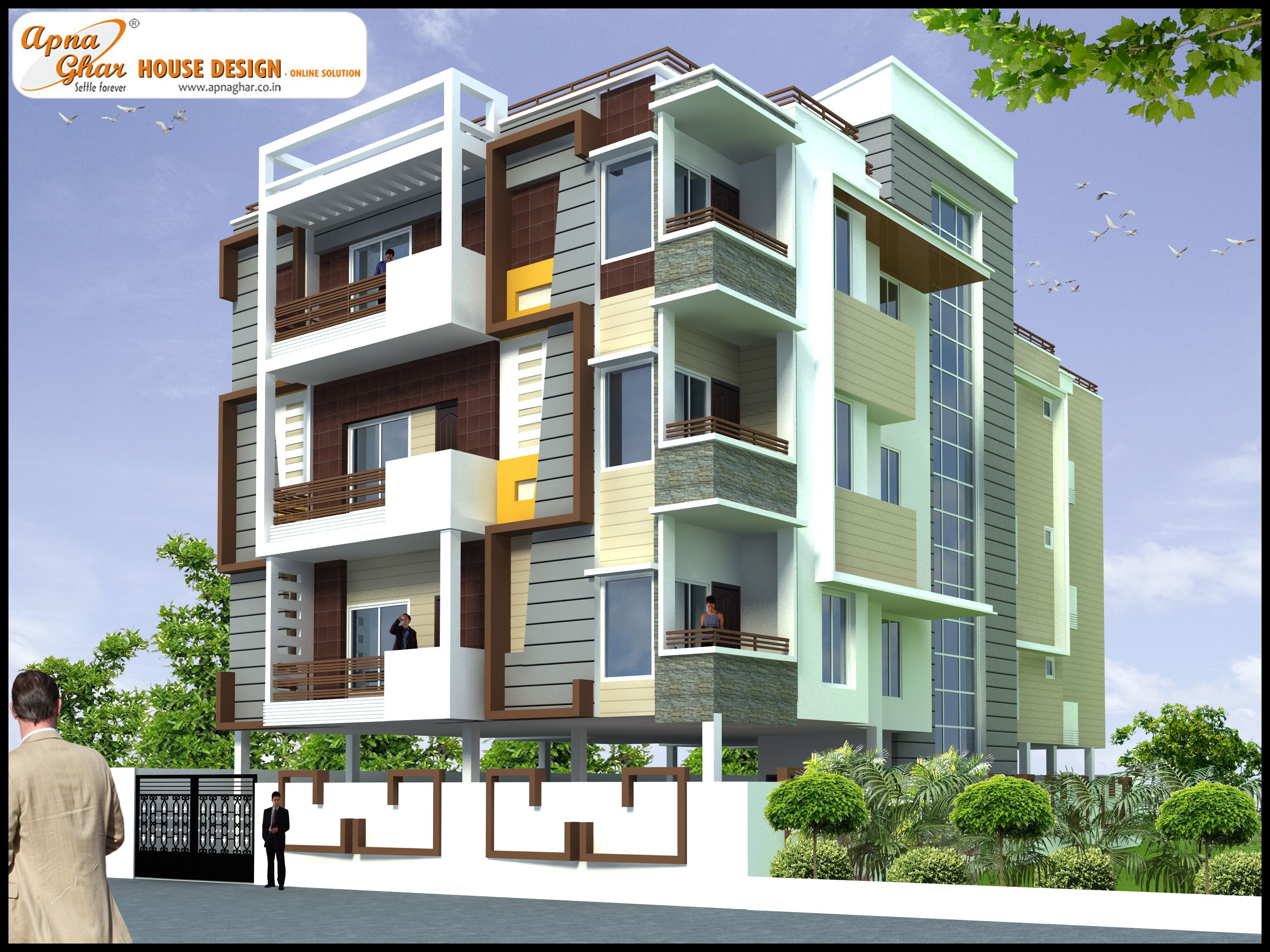 Ground Floor House Elevation Design : Bedrooms independent floor design in m