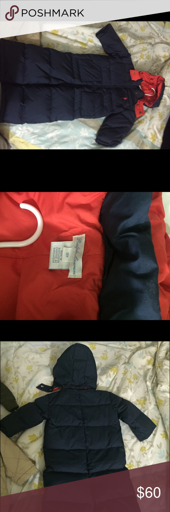 Ralph Lauren polo snow suit Navy blue and red polo snow suit. Worn twice like new Ralph Lauren Jackets & Coats Puffers