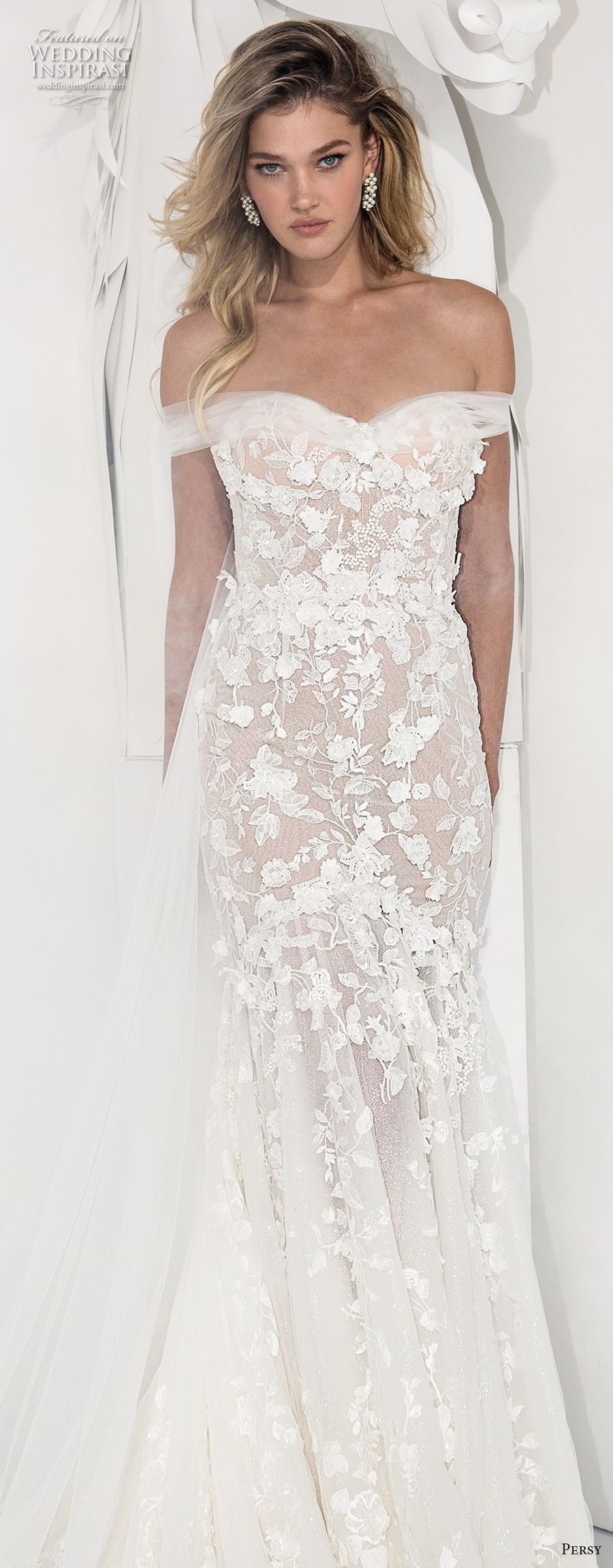 Preloved pronovias wedding dresses  persy couture  bridal off the shoulder sweetheart neckline full