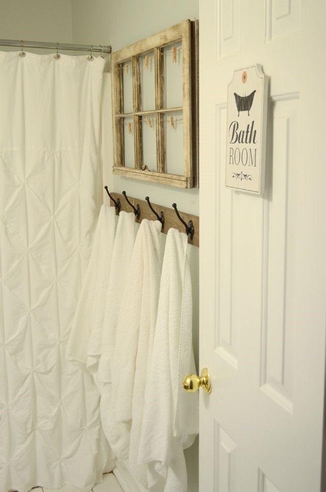 Rustic Towel Hooks In Guest Bathroom Rustic Towels Towel Hooks Guest Bathroom