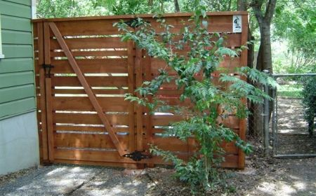 Custom Horizontal Fence Using 1x4 1x6 And 1x8 Boards Gate Area Backyard Fences Wood Fence Fence Design