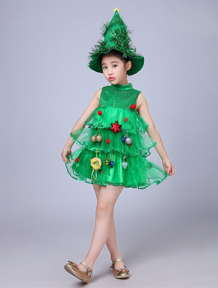Christmas Tree Costume Girls Kids Green Tree Hat Dress Cosplay Halloween Christmas Costume Kids And Mom Shop Christmas Tree Costume Tree Costume Funny Christmas Costumes