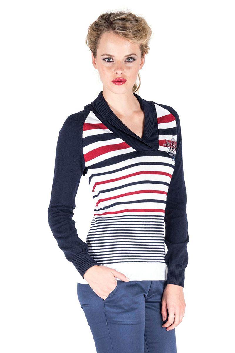 Venda Giorgio di Mare / 24622 / Mulher / Camisolas e casacos de malha / Camisola Azul-marinho e branco