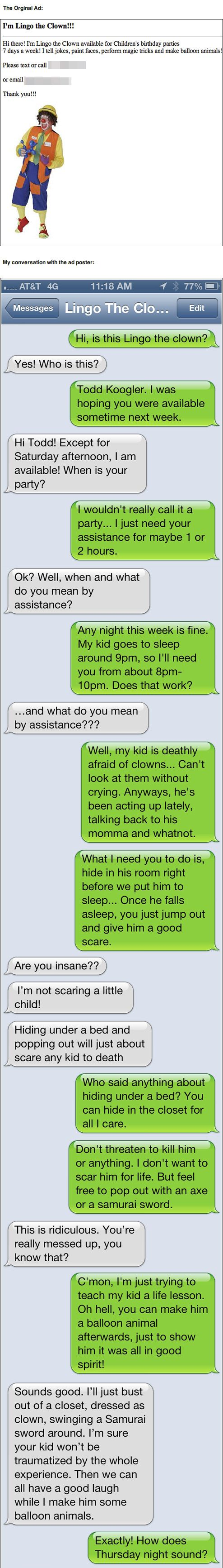 omg..this is hilarious. I would HATE if my parents did this to me, but god it would have made for a good story.