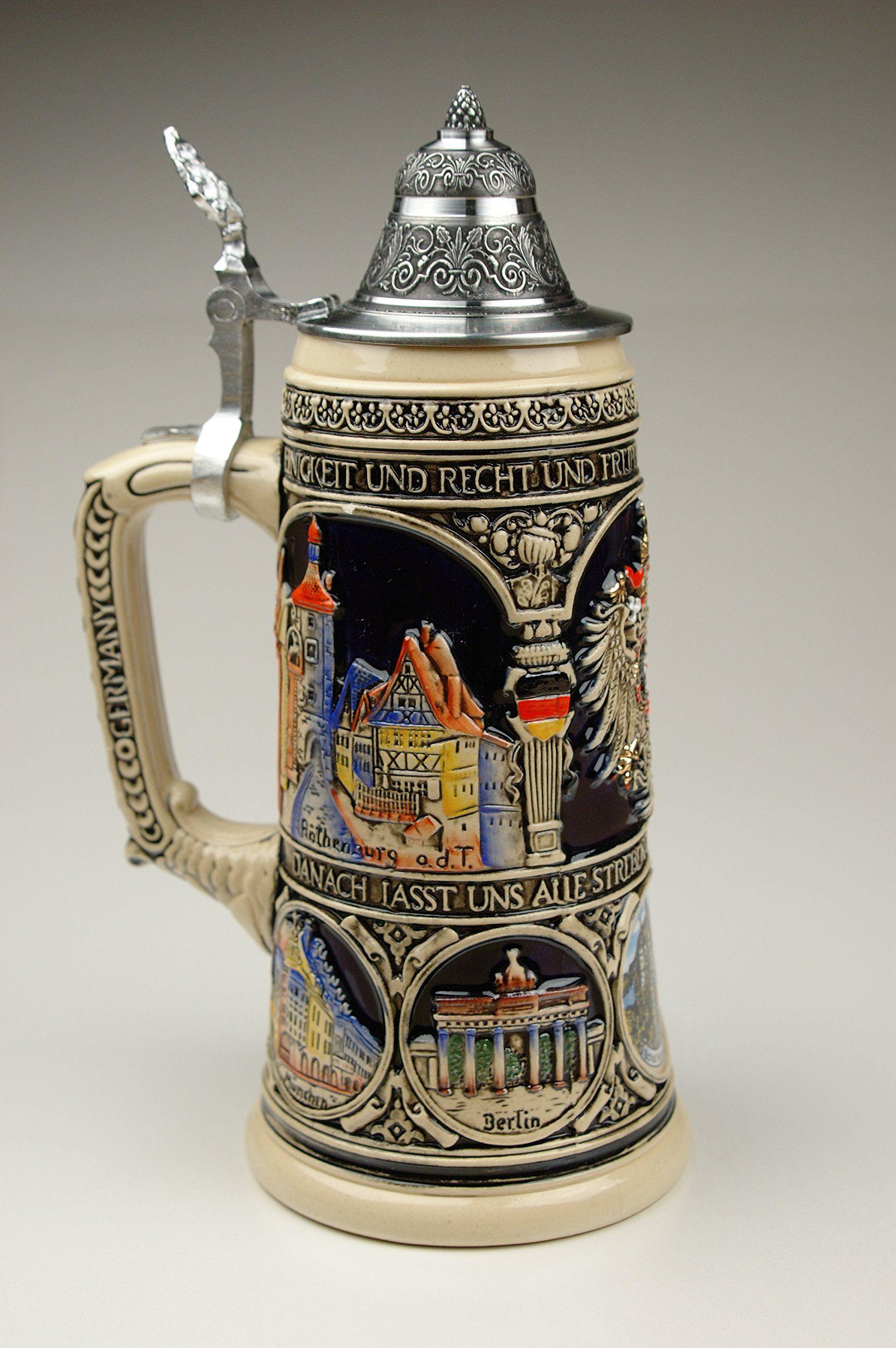 0.75l Limited Old Heritage CoA and Landmarks Relief Colored Beer Stein Beer Mug by King Beer Mug