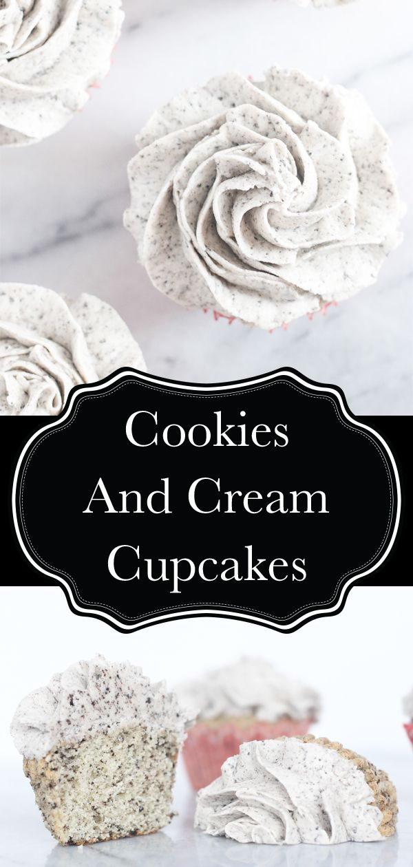 Cookies and cream cupcakes just like you buy at a fancy bakery! A moist vanilla cupcake with oreos mixed in, and a creamy oreo buttercream for on top. These are a must for every family celebration. I could seriously eat this oreo buttercream with a spoon!  #cupcakes #cookiesandcream #oreo #bakery #buttercream #vanilla #oreocupcake #recipe #delicious #food #cookiesandcreamfrosting