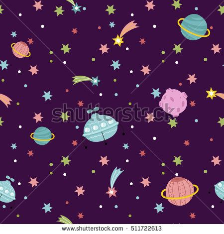 Cartoon space background with cartoon and stars