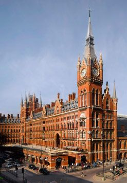St.Pancras - opened in 1873 by Queen Victoria as the Midland Grand -- with Eurostsar station inside: fabulous architecture, incredible train station!