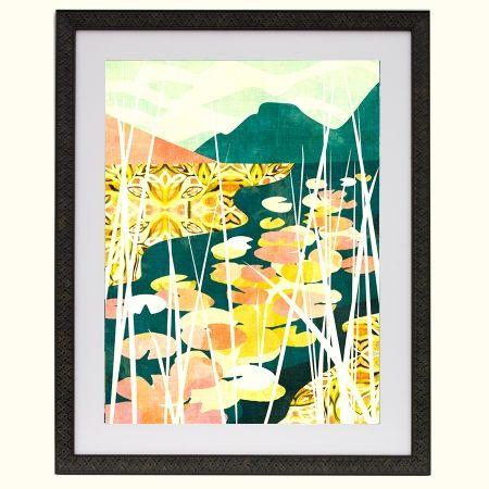 Lily hideaway art print framed