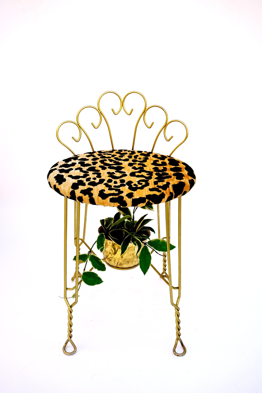 Mid century hollywood regency leopard velvet gold metal vanity mid century hollywood regency leopard velvet gold metal vanity stool glam scroll back vintage boudoir stool geotapseo Gallery