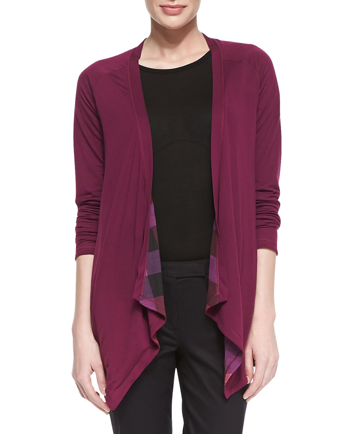 Burberry Brit: Reversible Check-Solid Waterfall Cardigan, Cerise ...