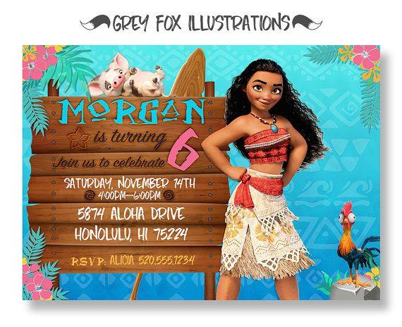 Invitación Del Cumpleaños De Moana Moana Por