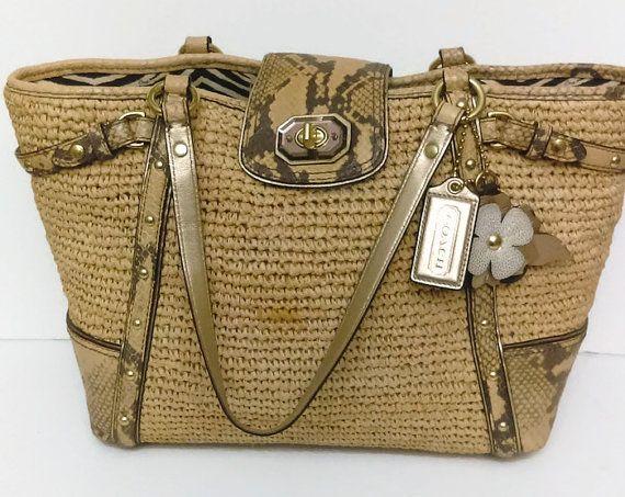 Pretty Large Summer Authentic Coach Bag  by GenesisVintageShop