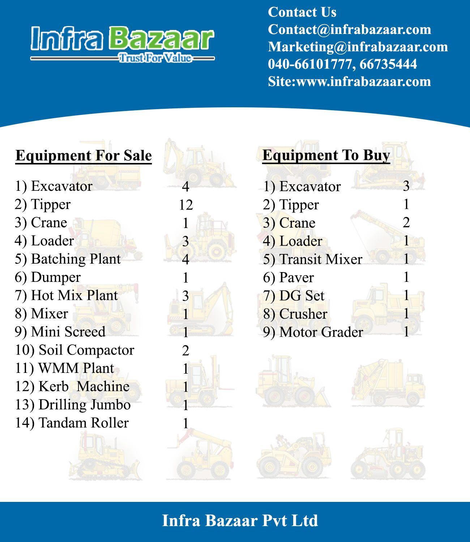 Equipment List Equipment For Sale Construction Equipment Asset Management