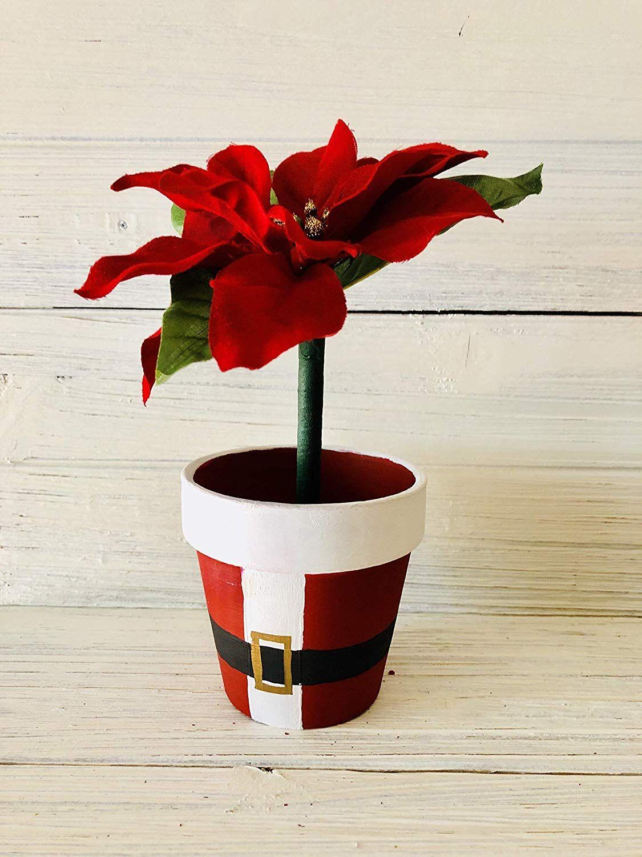 Poinsettia Flower Pen Pot Painted Flower Pots Flower Pots Flower Pot Crafts
