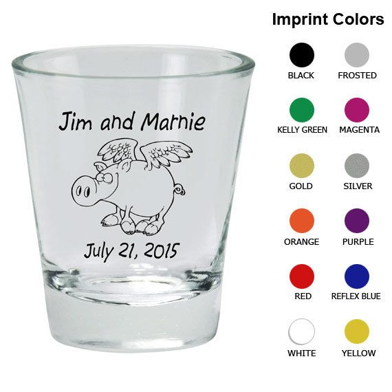 Custom Shot Glasses (Clipart 1680) Flying Pigs - Wedding Shot Glass Favors - Personalized Shot Glass - Wedding Shot Glasses