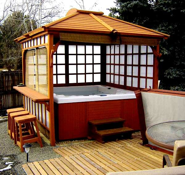 Best 25 hot tub gazebo ideas on pinterest hot tub bar for Diy hot tub gazebo