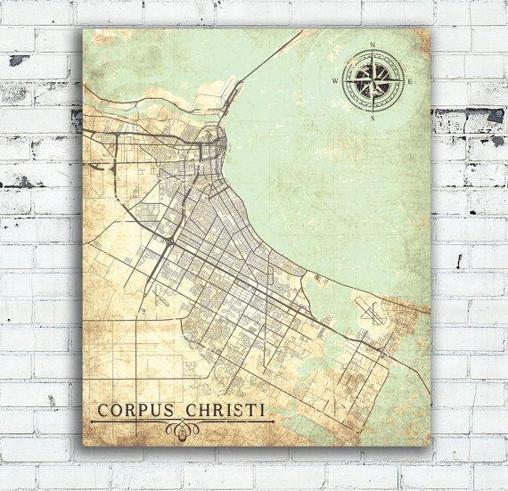 Corpus Christi Canvas Print Texas Tx Vintage Map City Pastel Vintage Antique Tx