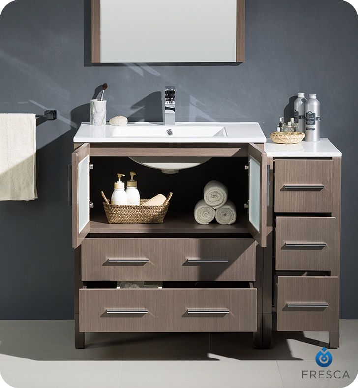 "Fresca FVN62-3012GO-UNS Torino 42"" Modern Bathroom Vanity with Side Cabinet and Integrated Sink in Gray Oak"