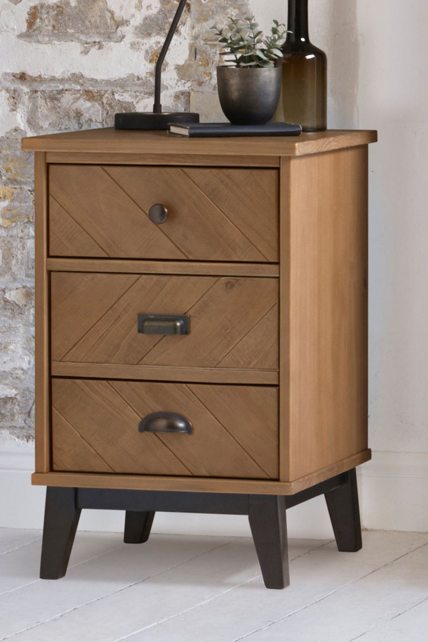 Best Next Hoxton Chevron 3 Drawer Bedside Table Brown 640 x 480