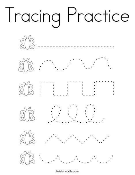 Tracing Practice Coloring Page - Twisty Noodle   Tracing ...