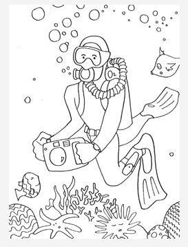 Sea Diver Coloring Page Ocean Coloring Pages Coloring Pages Free Coloring Pages