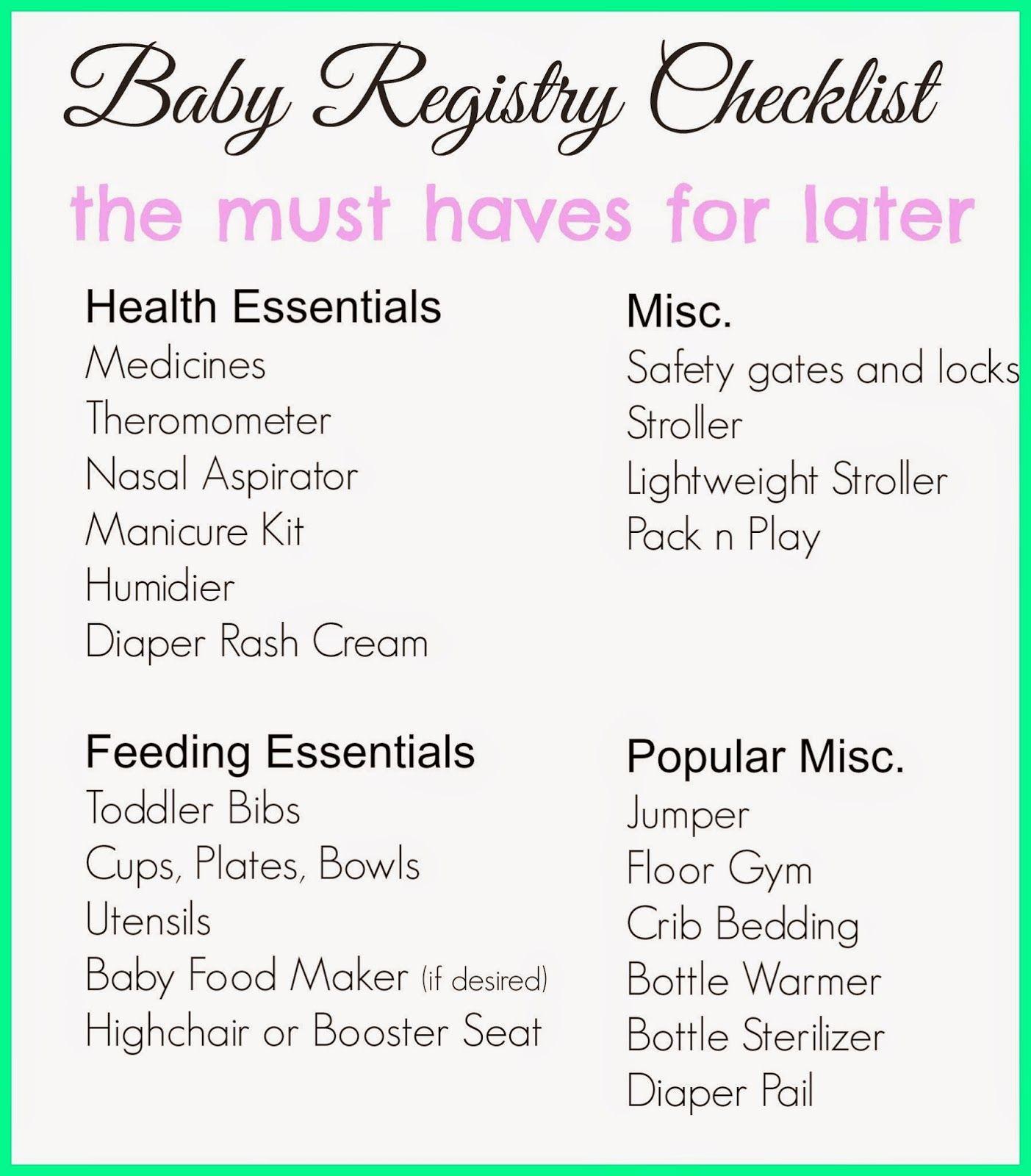 Baby Registry Checklist  Baby Registry Checklist Baby Registry