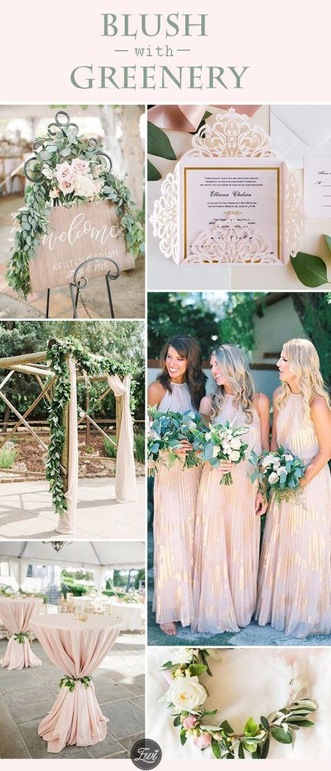 20 Trendy Blush Greenery Wedding Color Ideas For Summer I Do