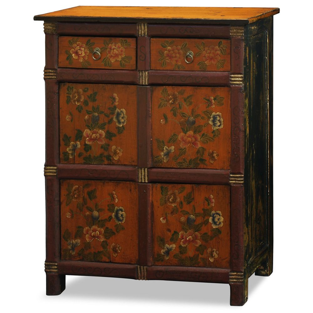 Hand Painted Floral Motif Tibetan Cabinet in 2020   Hand ...