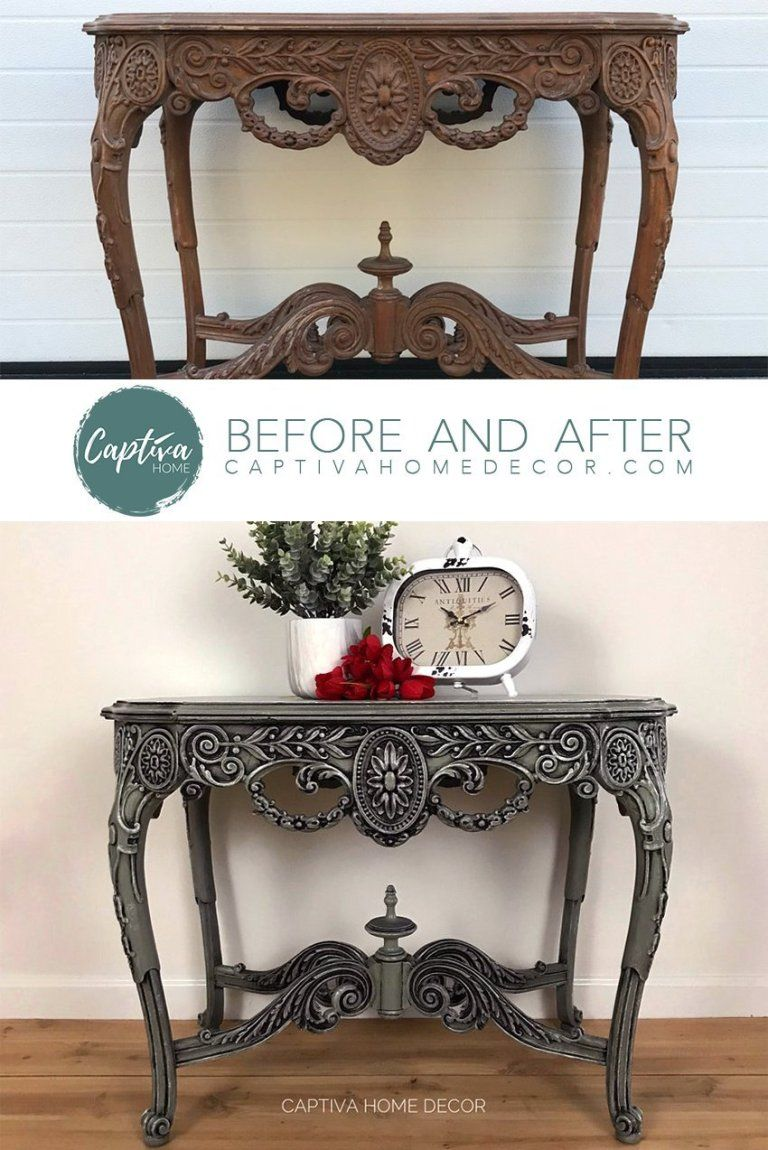 Side Table Makeover in General Finishes Basil Milk Paint is part of Furniture, Diy furniture, Side table makeover, Antique furniture makeover, Paint furniture, Table makeover - It can be a challenge to see past the existing finish on a piece, but I immediately knew this one could be a showstopper! It has gorgeous, unusual carved details, swirls and curvy legs but the pretty details were being lost in the sea of brown  It was time to let that beauty shine!!  This     Read More about Side Table Makeover in General Finishes Basil Milk Paint
