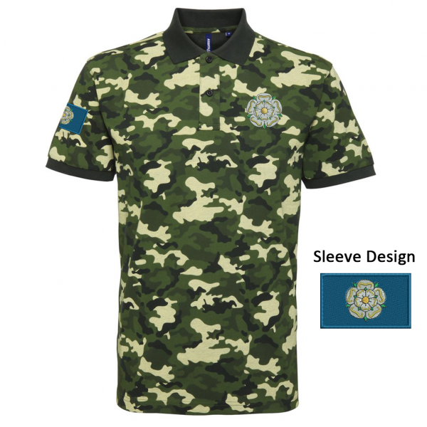 03bfbcab Green camouflage style polo shirt embroidered with a Yorkshire Rose the  left breast and the Yorkshire Flag on the right arm. Also available in:  Blue camo, ...