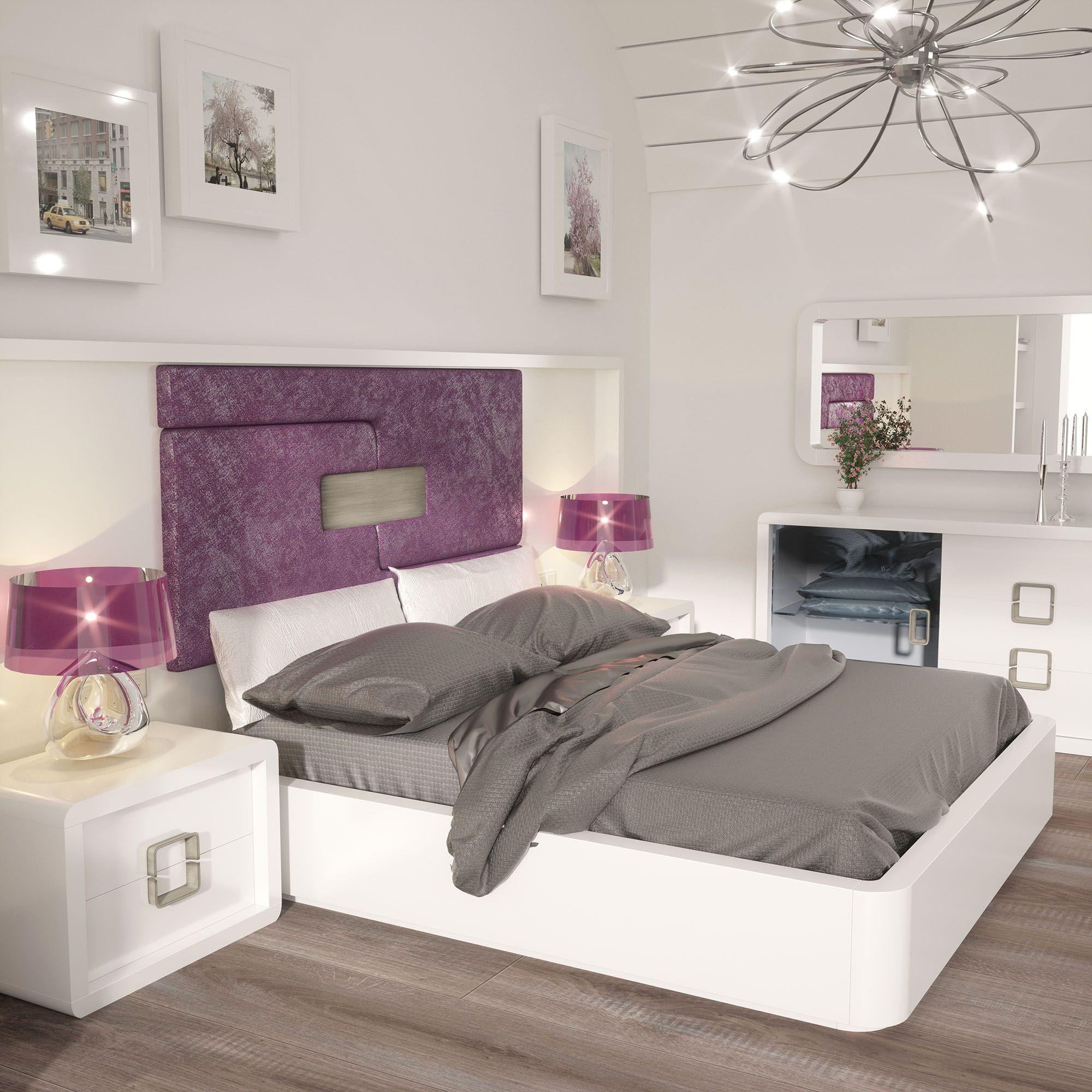 Dormitorios con lineas cuidadas y un cabecero tapizado en plafon ...