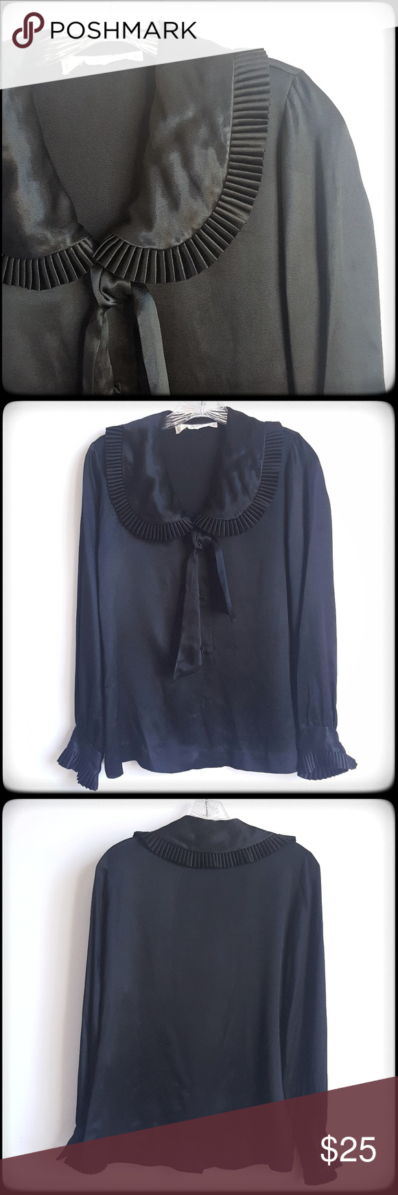 Vintage long sleeve ruffle collar blouse euc my posh picks