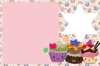 Cupcakes Fofinhos – Kit Completo com molduras para convites, rótulos para guloseimas, lembrancinhas e imagens!  Fazendo a Nossa Festa