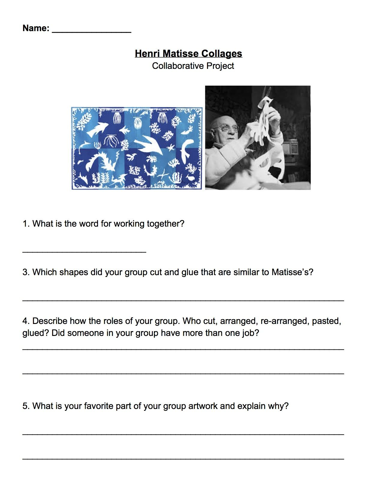 Matisse Collaborative Collage Review Worksheet Grade 4