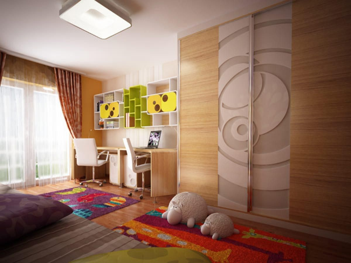 kids bedroom furniture sets with modern wooden wardrobe designs and computer table and curtain decor