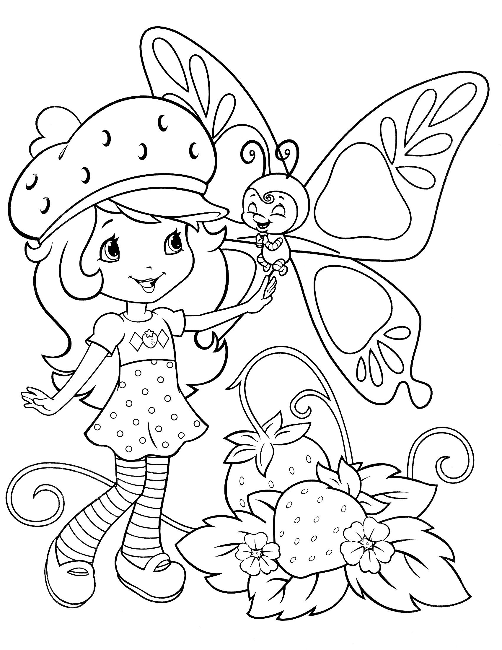 strawberry shortcake coloring pages butterfly