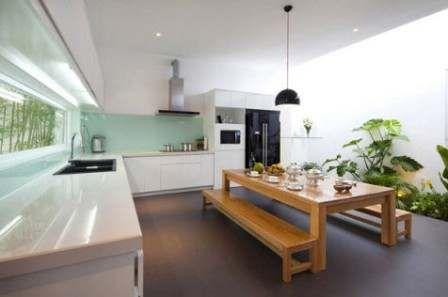 desain dan konsep dapur outdoor semi terbuka di luar