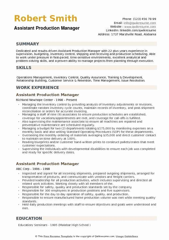 Quality Control Job Description Resume Best Of Assistant Production Manager Resume Samples Good Resume Examples Resume Examples Manager Resume