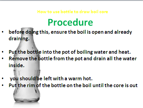 how to remove the core of a boil Procedure before doing this
