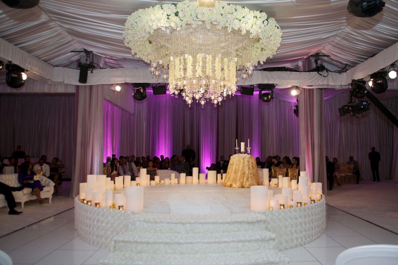 Real Wedding Of Rhoa Kandi Burruss Todd Tucker Inside Weddings Wedding Inside Wedding Ceiling Wedding Stage Design