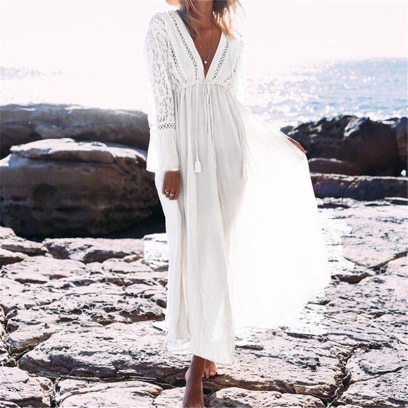 b55a5019be Boho Głębokie V Neck Hollow Out Długa Sukienka Kobiety Plus Size Lato Plaża Tunika  Biała Bawełna Sexy Linia Długi sukienka Vestidos   N274
