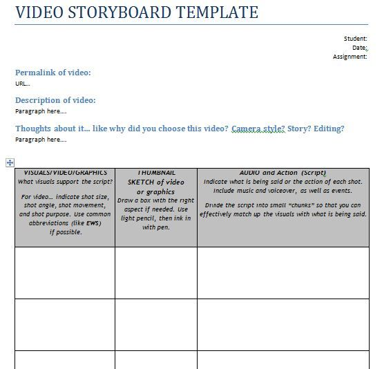 video storyboard template, production storyboard template