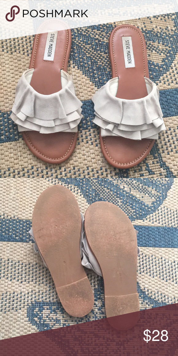 0cf9a2eb40d Steve Madden ] Getdown Sandal Sand color with ruffle details. Worn ...