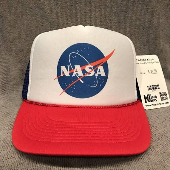 9125b3bc5c3 NASA Trucker Hat USA Space Program Old Logo Vintage Snapback Cap RWB 2190