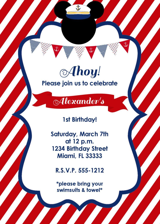 Nautical Mickey Mouse Birthday Invitation por LoveLifeInvites ...